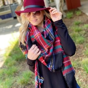 LAST ONE! Black Plaid Blanket Scarf
